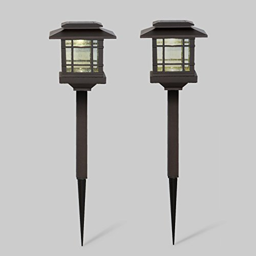 Outdoor Solar Lights Parts: 2 Bronze Solar Path Lights With Warm White LEDs, Outdoor