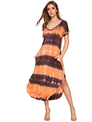 (MAKEMECHIC Casual Maxi Short Sleeve Split Tie Dye Long Dress Orange M)