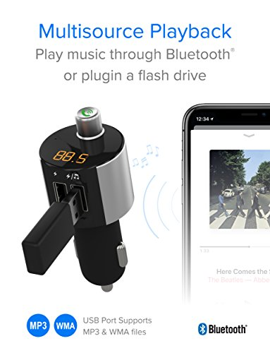 Just Wireless Bluetooth FM Transmitter, Wireless Bluetooth FM Radio Transmitter with Hands-Free Calling and 2 USB Ports by Just Wireless (Image #3)