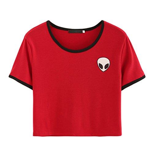 Corta Aliens Manica Rosso 3D Camicie Magliette T Crop Rotondo Stampa Donna Shirt Kairuunn Collo Top gPvqF5wW4