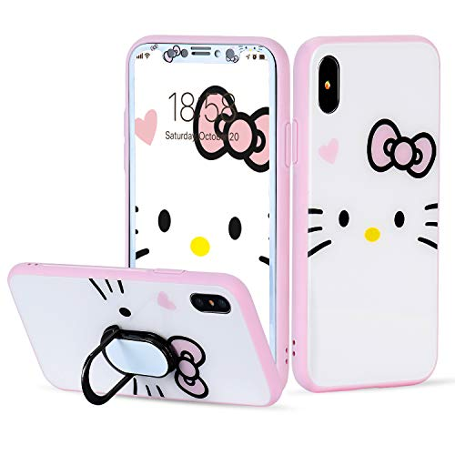Funermei White Cat Case for iPhone Xs Max 6.5,Screen Protector Tempered Glass Film with Ring Holder Kickstand,Unique Women Girls Lady Phone Cover, 360 Full Body Protection Cases for iPhoneXsMax