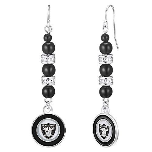 Pro Specialties Group NFL Oakland Raiders Beaded Dangle Earrings