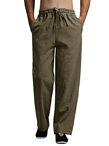 Puwany Mens Casual Linen Drawstring Summer Pants Yoga Beach Trousers by Puwany