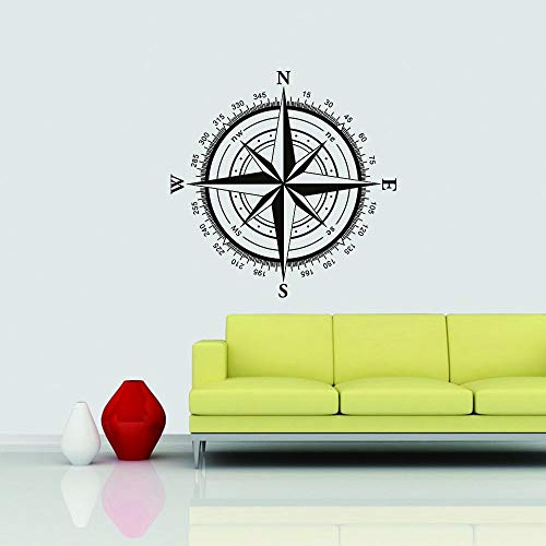 Wall Stickers Murals Compass Rose Nautical Travel Decor Christmas Gift Holiday Gifts Black 50″h x50″w Home Decor Wall Art Decal Gift