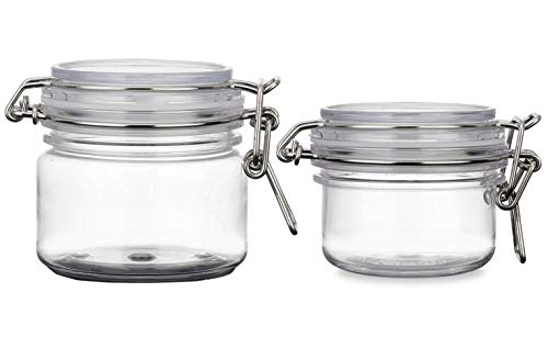 2PCS 120G/200G 4oz/7oz Round Clear PET Plastic Latch Lid Air Tight Sealed Cosmetic Bottle Jars Makeup Facial Body Mask Cream Lotion Food Storage Hermetic Container Pot with Locking Cannister -