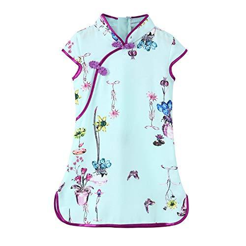 Kids Baby Flowers Cheongsam Floral Princess Dresses Girls Infantil Fille Summer,Light Blue,11T]()