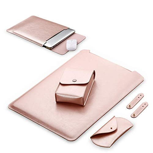 (1 Waterproof Notebook Sleeve 15.6 inch Leather Laptop Bag Case Cover For Air Notebook - Laptops & Accessories Laptop Bags & Cleaners - (Rose Gold) - 1 x Power bag, 1 x laptop bag)