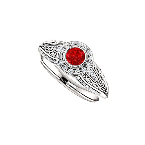 One Carat Ruby and CZ Leaf Pattern Ring in 925 Silver