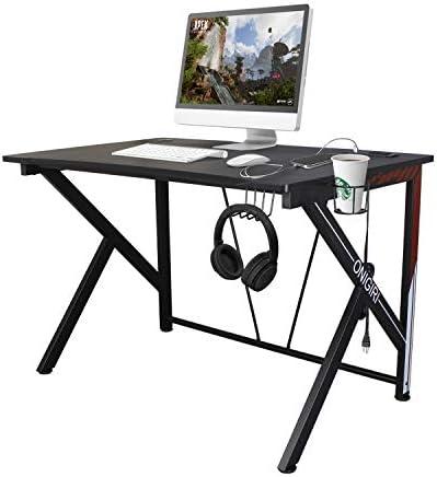 COZUHAUSE K-Shaped Computer Gaming Desk 45.7″ Black Carbonized Pattern