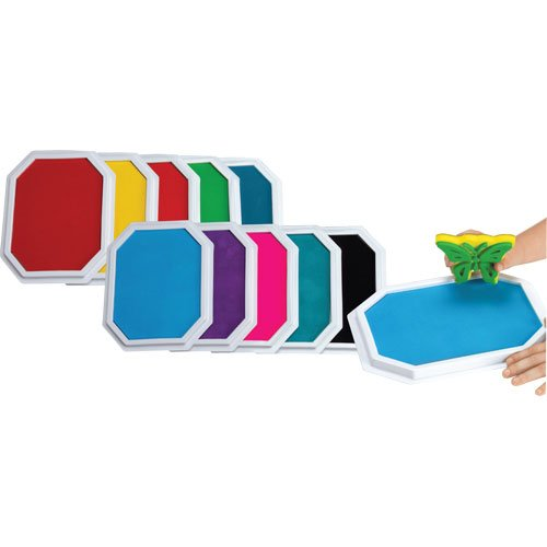 Constructive Playthings Large Stamp Pads Kids Set 10 Ink Colors for Rubber Stamps