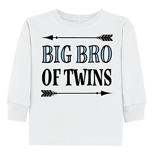 inktastic - Big Bro of Twins Brother Toddler Long Sleeve T-Shirt 4T White - Brothers Twins