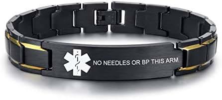 VNOX Free Custom Engraving-Unisex 2 Tone Brushed Stainless Steel Emergency Medical Alert ID Adjustable Bracelet Wristband