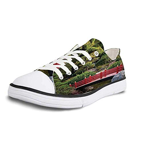 Canvas Sneaker Low Top Shoes,Apartment Decor Tiny Bridge Over Pond Japanese Garden Monte Carlo Monaco Along with Trees and Plants Decorative Women 10/Man 7
