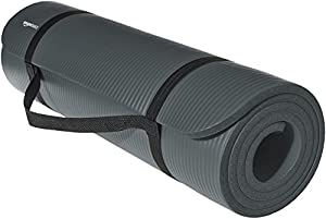 AmazonBasics 1/2-Inch Extra Thick Exercise Mat with Carrying Strap, Grey