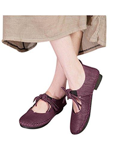 Youlee Mujeres Borla Cuero Corte Bajo Zapatos Viola