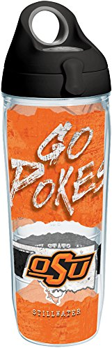 - Tervis 1251380 Oklahoma State Cowboys College Statement Insulated Tumbler with Wrap and Black with Gray Lid, 24oz Water Bottle, Clear