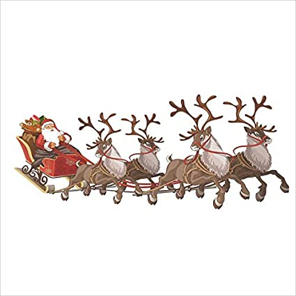 95df3734b9 Image Unavailable. Image not available for. Color  Large Santa Sleigh  Window Cling
