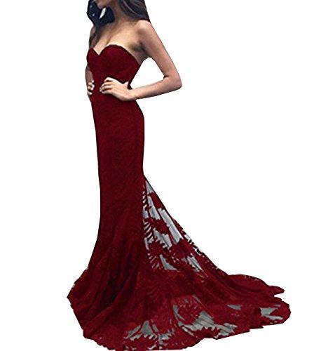 Escote Vino Bridal De Rojo Encaje Dama Cariño Noche Simple De Largo Vestido Sirena Honor Vestido De Negro Special De UqdBtwB