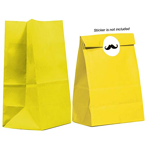 40CT Biodegradable, Food Safe Ink & Paper, Premium Quality Paper (Thicker), Paper Bag, Kraft Paper Sack,Goody Bags, Treat Sacks, Perfect for Party Filled with Small Favors (Medium, Yellow)