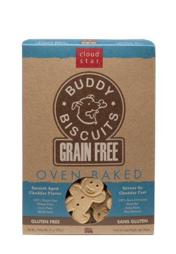 Cloud Star Grain Free Oven Baked Buddy Biscuits Dog Treats, Smooth Aged Cheddar, 14-Ounce, My Pet Supplies