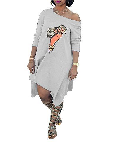 - Remelon Womens Casual Long Sleeve Off One Shoulder Money Print Loose Tunic Asymmetrical T-Shirt Mini Dress Gray L