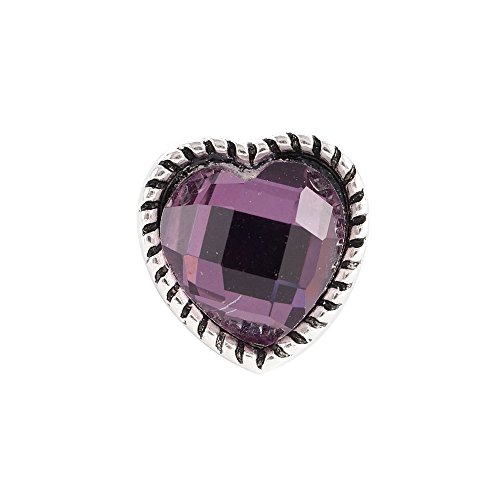 Chunk Snap Charm Mini 12mm Purple Faceted Crystal Heart 1/2