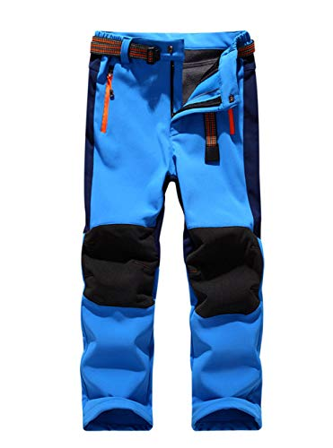 LANBAOSI Kids Boys Girls Waterproof Outdoor Hiking Pants Warm Fleece Lined Lt Blue