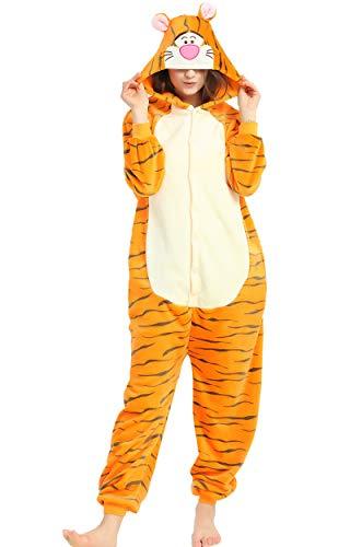 Indiefit Adults Onesie Pyjamas Flannel Animal Cosplay Costume Hoodie Sleepwear Nightgown tiger-M for $<!--$26.99-->