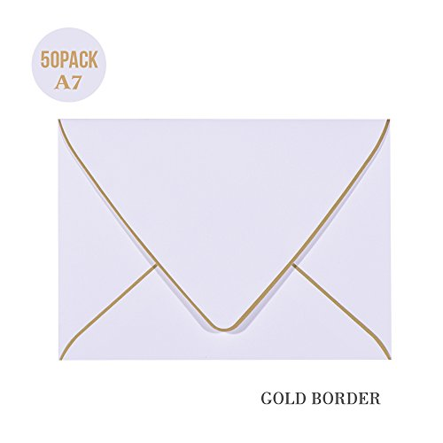 (A7 White Envelopes 5 x 7 With Gold Border,- 50 Pack,For 5x7 Cards| Quick Self Seal| Perfect for Weddings, Invitations, Photos, Graduation, Baby Shower| 250GSM Luxury paper|5.25 x 7.25 Inches (White))