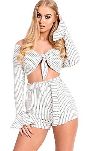 IKRUSH Women's Saskia Paperbag Pin-Striped Shorts Size in White Size 12