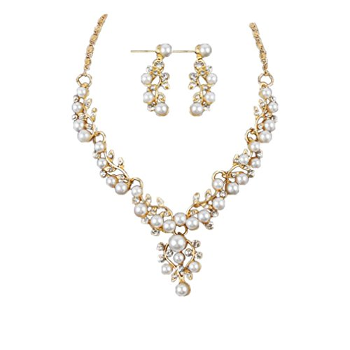 BSGSH Women Elegant Faux Pearl Rhinestone Necklace and Earrings Jewelry Sets Gifts for Bridal Wedding Party (Gold)