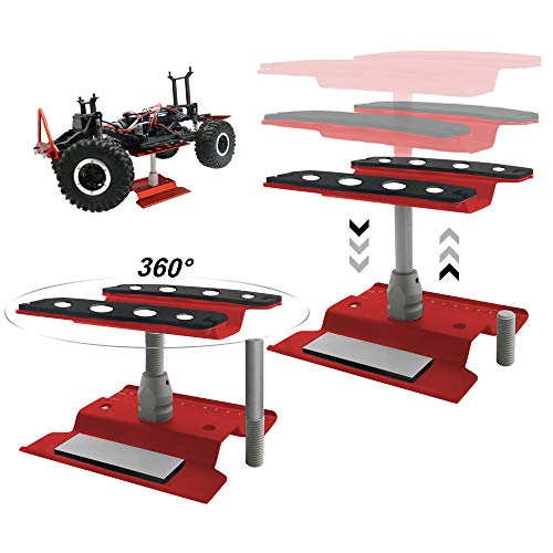 RC Model Car Repair Station Workstation Work Stand 360° Rotation Height Adjustable for 1/8 1/10 1/16 1/18 Scale Monster Crawler Trucks Buggy (Red)