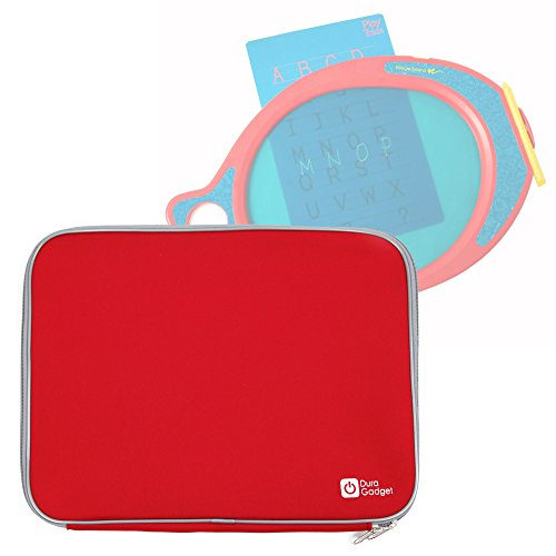 DURAGADGET Red Travel Water Resistant & Shock Absorbent Neoprene Case with Dual Zips Compatible with The Boogie Board Play N Trace