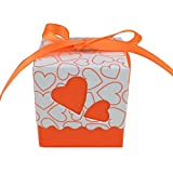 eroute66 12Pcs Candy Box Gift Bag Love Heart Holiday Wedding Party Beach Table Decor Wedding Party Favor Box Orange