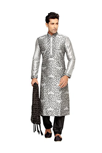Fashions Trendz Indian Kurta Pajama Set For Men Wedding Festival Partywear In Grey Dupion Silk by Fashions Trendz