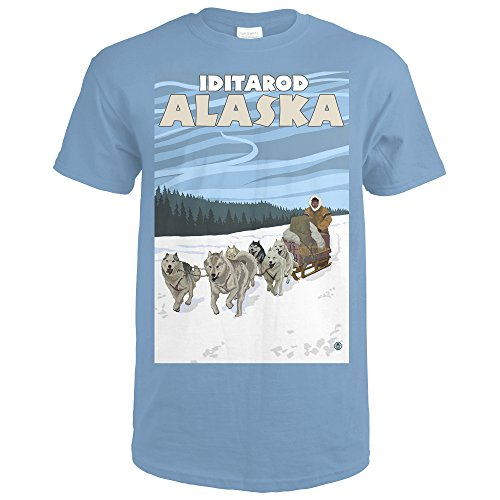 Iditarod, Alaska - Dog Sledding Scene (Indigo Blue T-Shirt (Scene Dog T-shirt)