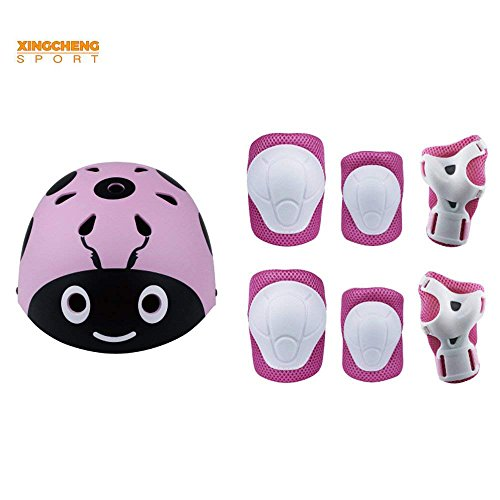 Kids Multi-Sport Helmet With Knee&Elbow Pads and Wrists 7 Pieces Kids Boys and Girls Outdoor Sports Safety Protective Gear Set for Skateboard Cycling Skate Scooter(4-8 Years Old) (Pink-Ladybug)