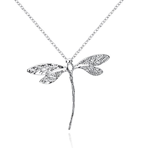 (Adecco LLC New Jewelry Fashion Silver Dragonfly Necklace Pendant 18 inch Chain (dragonfly))