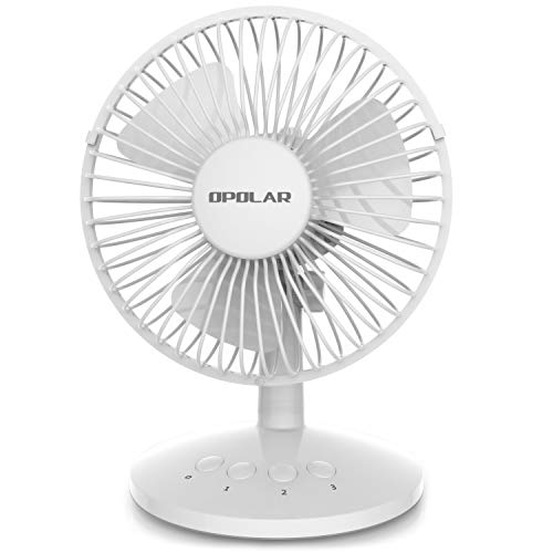 OPOLAR First Oscillating Mini Fan, AA Battery (not Included) Operated or USB Powered, Portable Table Fan, 3 Speeds, Adjustable Head, Enhanced Airflow and Low Noise, Personal Office Fan for Home-White ()