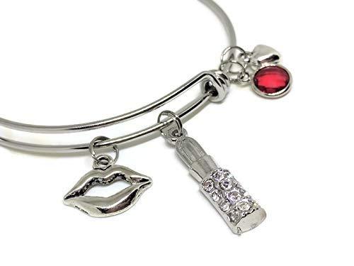 Lip and Lipstick Bangle Bracelet: Lipstick Jewelry Accessories