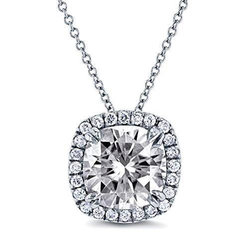 Near-Colorless (F-G) Moissanite and Halo Diamond Cushion Necklace 3 CTW in 14k White Gold (16