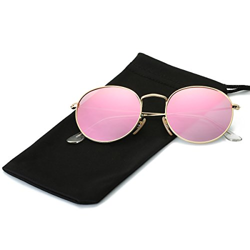 Multi Pink Glass (LKEYE Small Unisex Classic Vintage Round Mirror Lens Polarized Sunglasses LK1702 Gold Frame/Pink Lens)