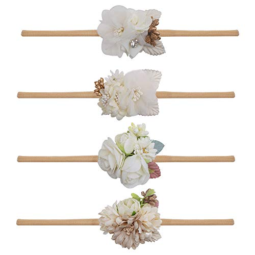 Baby Girl Floral Headbands Set - 4pcs Mini Flower Crown Newborn Toddler Hair Accessories by mligril (Bow Pattern Cotton)