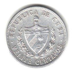 1920 Cuba 20 Centavos Coin KM#13.2 - 90% Silver 20 Centavos Silver Coin