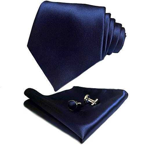 CANGRON Men Navy Blue Tie Set Necktie with Pocket Square Cufflinks Giftbox LSC8ZQ