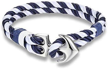 Pulsera con ancla de cuerda de colores, pulsera náutica para hombre y mujer blanco y azul: Amazon.es: Joyería