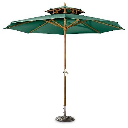 CASTLECREEK 10u0027 Two Tier Market Patio Umbrella, Hunter Green