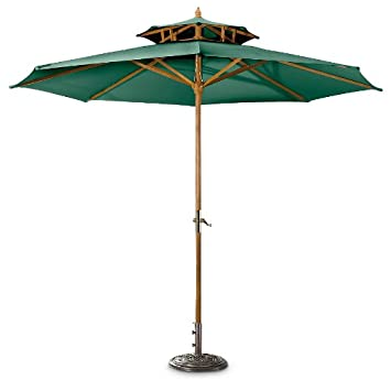 CASTLECREEK 10u0027 Two Tier Market Patio Umbrella, Khaki