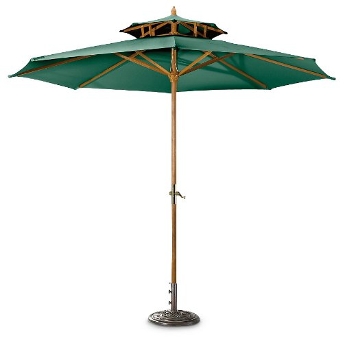 Amazon.com : CASTLECREEK 10u0027 Two Tier Market Patio Umbrella, Khaki : Patio  Umbrellas : Patio, Lawn U0026 Garden
