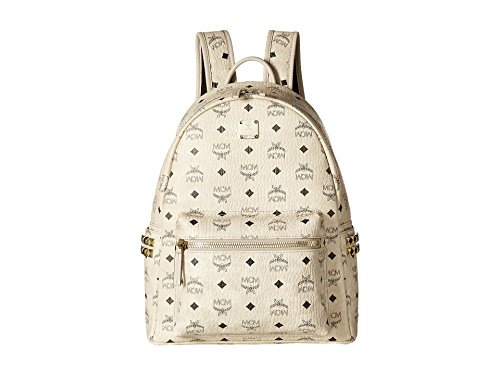 MCM Unisex Stark Side-Stud Small Medium Backpack Beige One Size